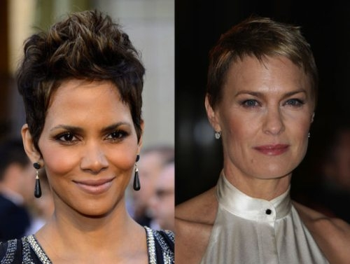 Halle Berry and Robin Wright (1966, 47 years old)