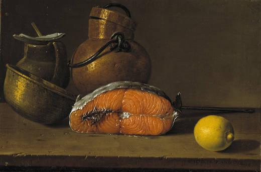 Натюрморт: кусочек лосося, лимон и три сосуда (Луис Мелендес)