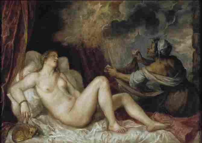 Danae receiving the golden shower (Titian)