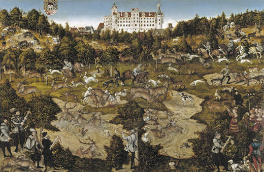 Hunting in honor of Carlos V in the castle of Torgau (Cranach)