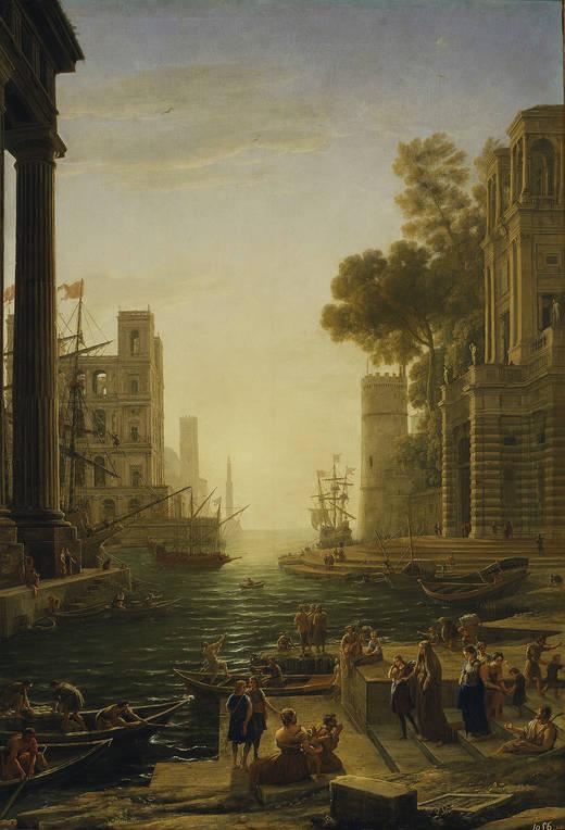 Landscape with embarkation in Ostia de Santa Paula Romana (Lorena)