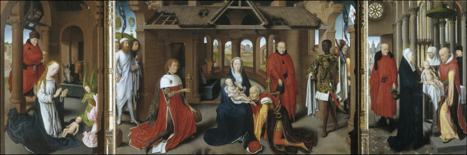 Nativity. Adoration of the Kings. Purification (Memling, Hans)