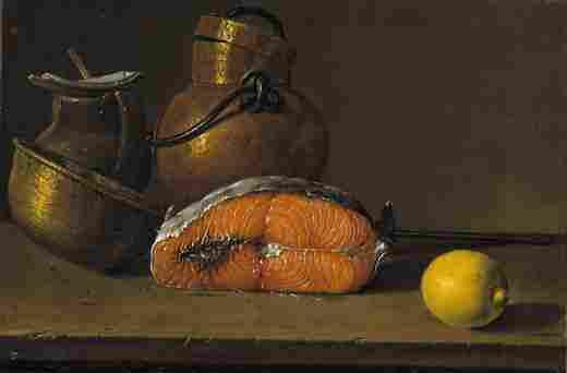 Still life: a piece of salmon, a lemon and three pots (Luis Meléndez)