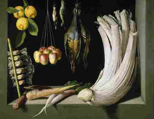 Still life of hunting, vegetables and fruits (Sánchez Cotán)