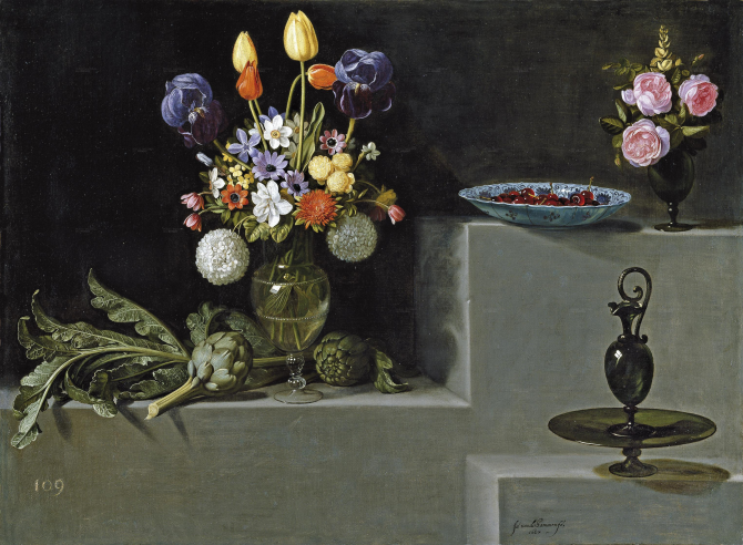 Still life with artichokes, flowers and glass containers (Hamen and León, Juan van der)