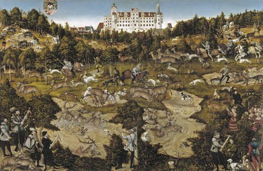 Охота в честь Карлоса V в замке Торгау (Кранах)