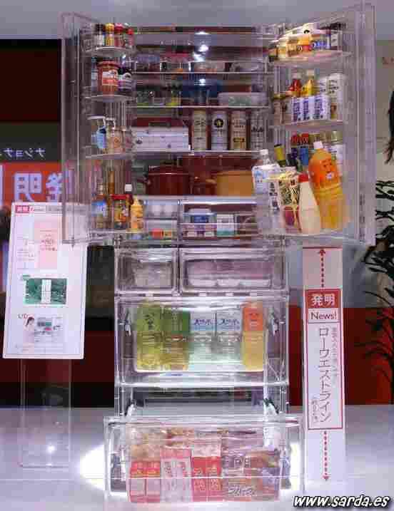A transparent fridge