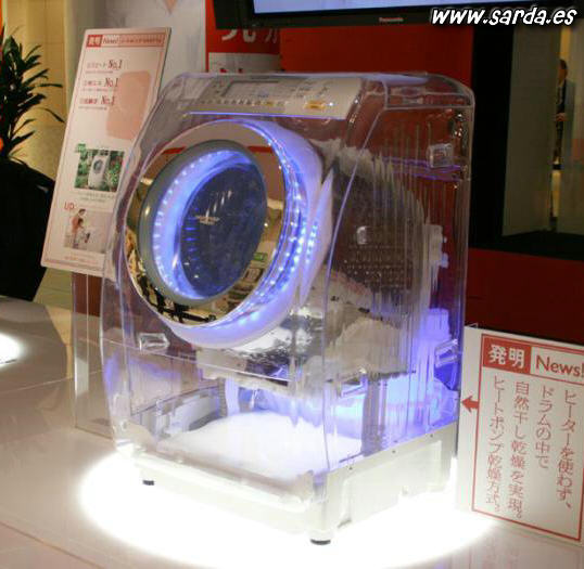 Máquina de lavar roupa transparente