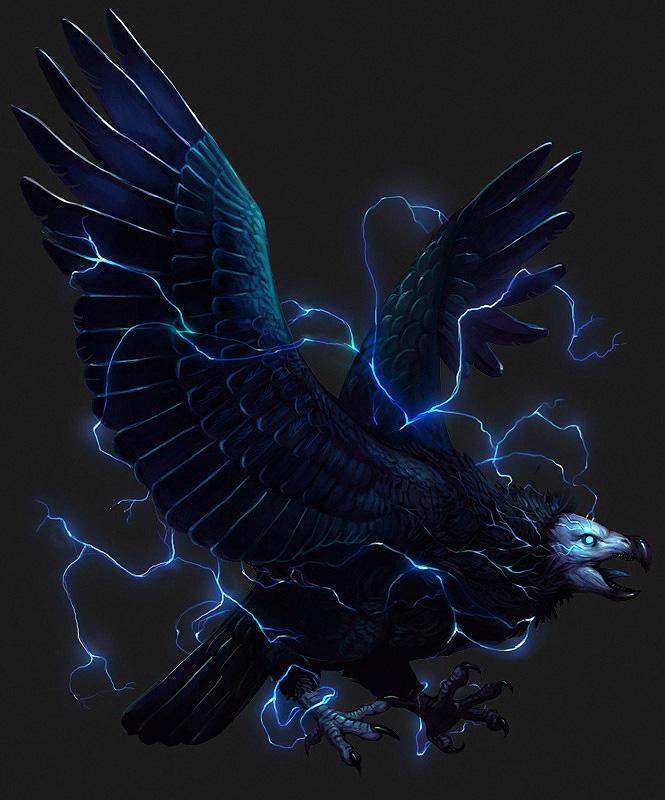 молнии птица