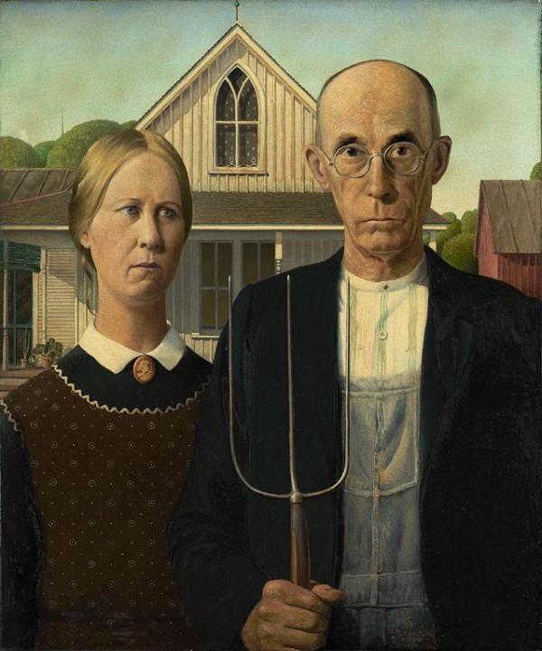 American Gothic por Grant Wood