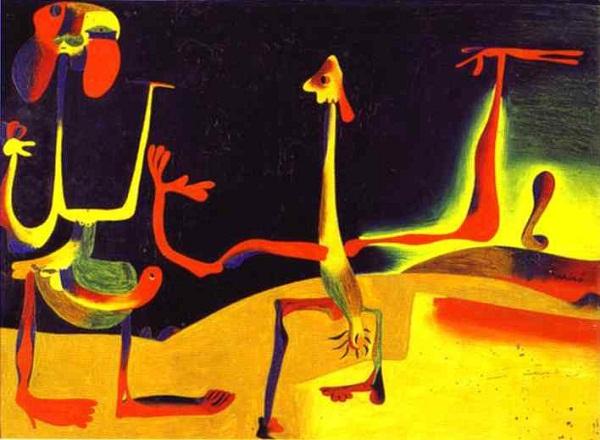 Homem e mulher diante de uma pilha de excrementos de Joan Miró