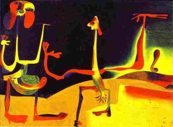 Man and woman before a lot of Joan Miró droppings