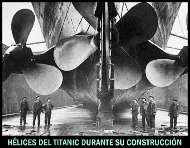 Hundimiento del Titanic (hélices que solo giraban en un sentido)