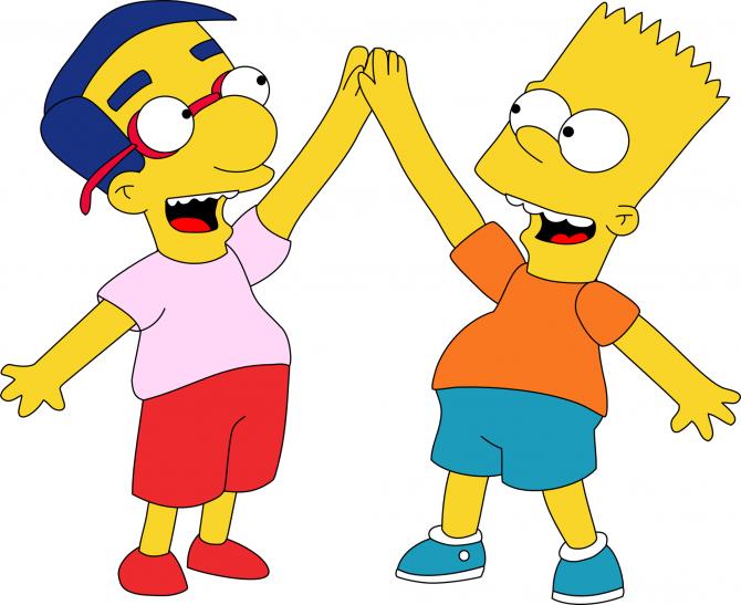 Bart Simpson and Milhouse