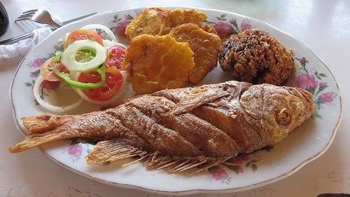 FRIED FISH, COCONUT RICE, PATACON.