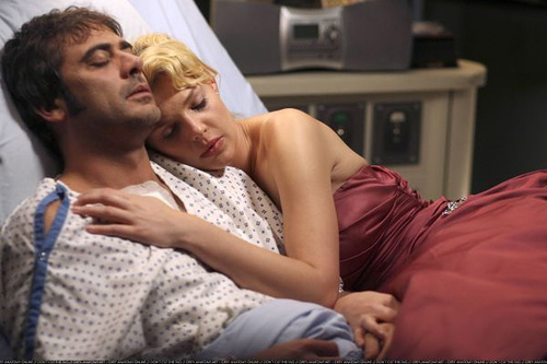 Izzie and Denny (Katherine Heigl and Jeffrey Dean Morgan)
