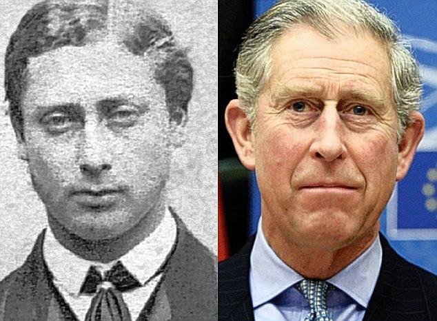 Edward, príncipe de Gales (1840-1910) e seu trineto-neto, príncipe Charles