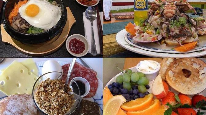 Petits déjeuners typiques autour du monde