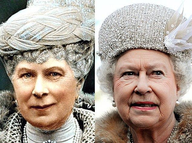 Queen Mary (1867-1953) e sua neta, a atual rainha Elizabeth II