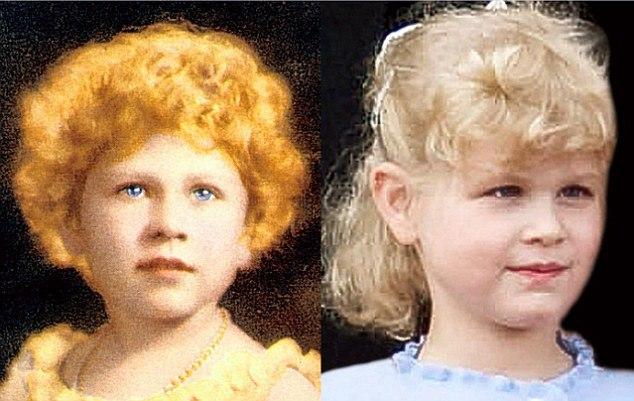 Rainha Elizabeth II quando criança e neta Lady Louise Windsor