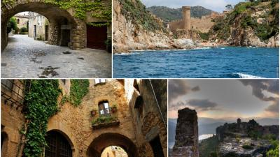 中世にあるカタルーニャの町