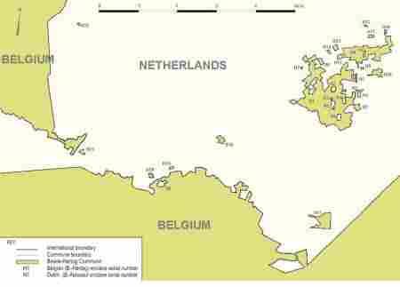 Baarle, Belgium within the Netherlands within Belgium, and vice versa.