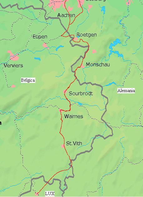O trem enclaves, a Alemanha na Bélgica.
