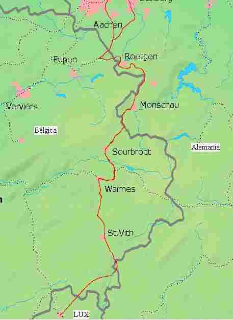 The train enclaves, Germany within Belgium.