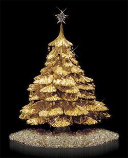 Árvore de Natal de ouro e diamante