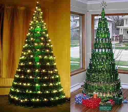 Christmas tree from glass bottles