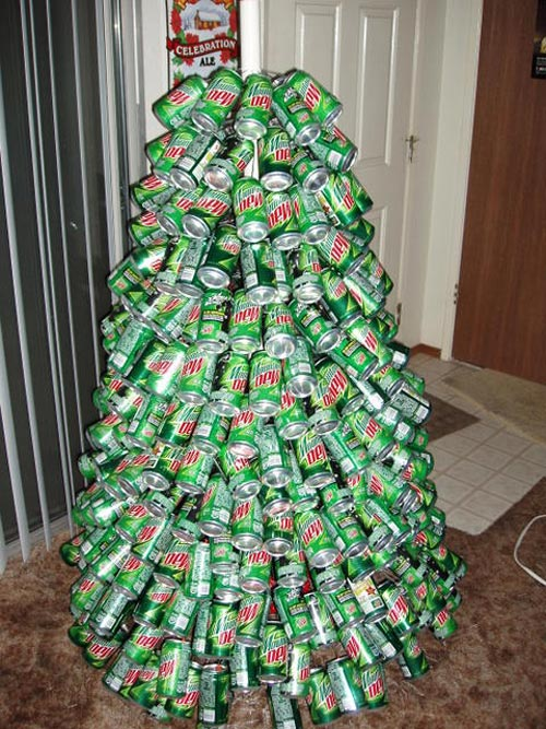 Christmas tree of beer cans