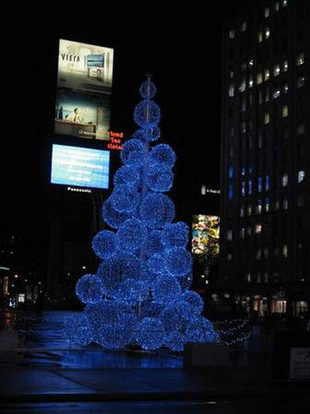 Christmas tree of light clouds