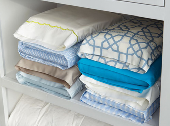 Store the folded sheets inside the pillowcase