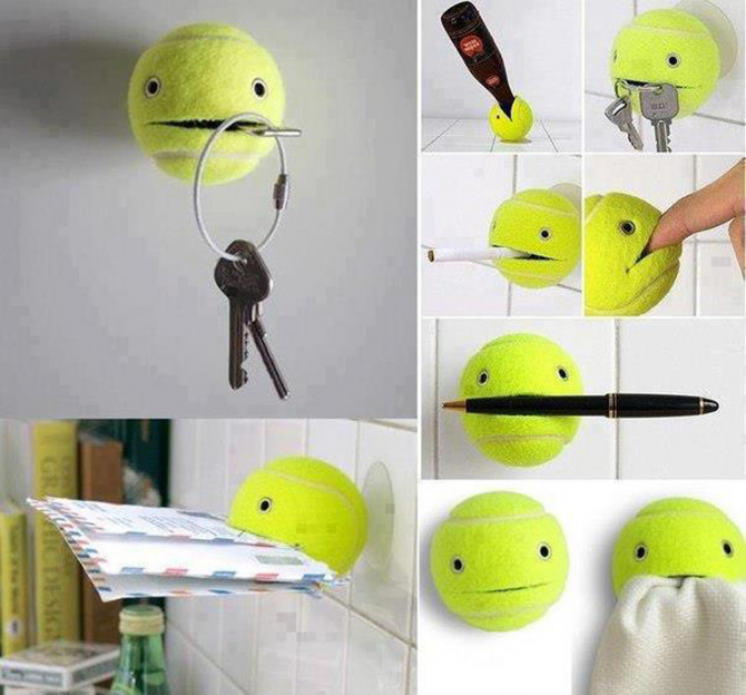 Use a tennis ball to hold objects