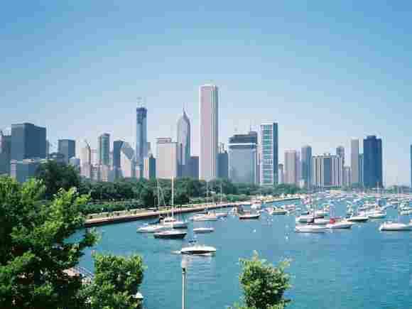 Lake Michigan in North America with 57,800 square km.