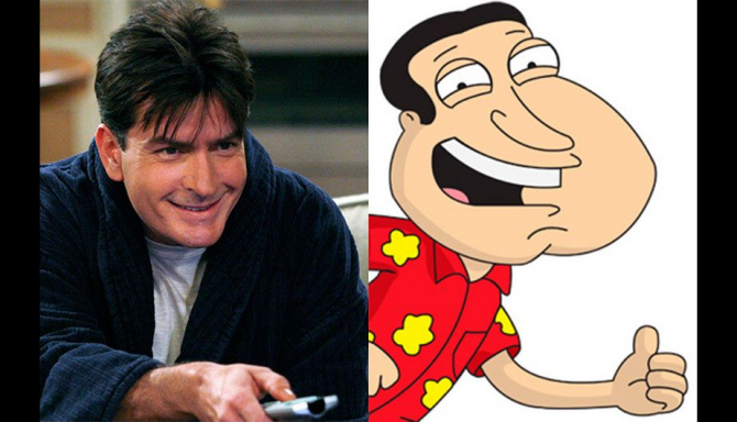Charlie Sheen and Glenn Quagmire of Family Guy.