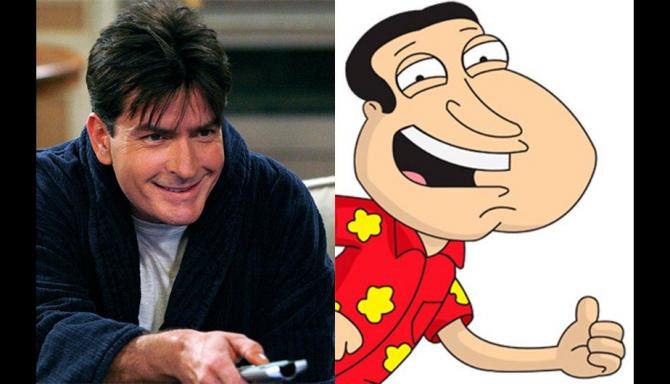 Charlie Sheen en Glenn Quagmire van Family Guy.