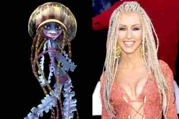 Christina Aguilera and jellyfish scarecrow
