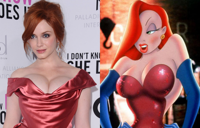 Christina Hendricks and Jessica Rabbit
