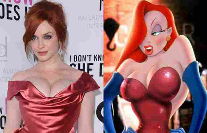 Christina Hendricks și Jessica Rabbit