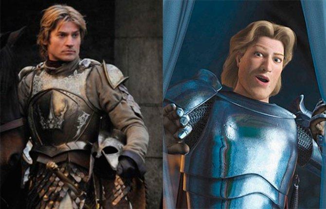 海梅·兰尼斯特(Jaime Lannister)和史瑞克(Srek)的白马王子
