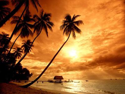 Coucher de soleil à la mer