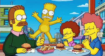 Bart com o pênis coberto por uma batata frita