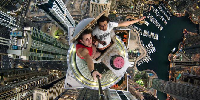 Extrem selfie från ovan