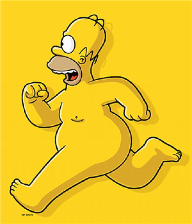 Homer correndo nu