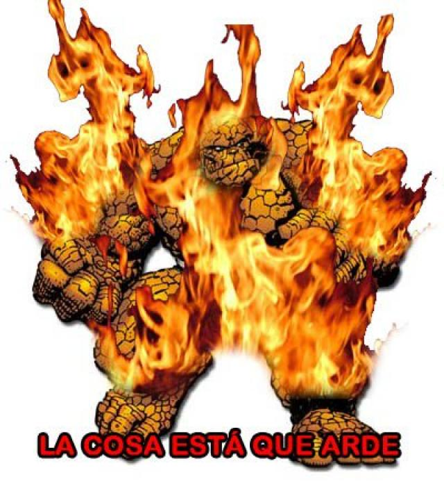 The thing is on fire