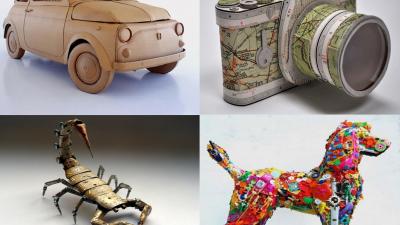 Esculturas espetaculares feitas com materiais reciclados
