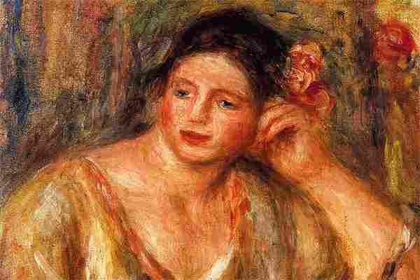 """""""Madeleine Leaning on Her Elbow with Flowers in Her Hair"""" by Pierre-Auguste Renoir"""