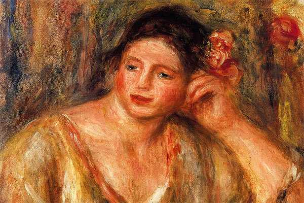 """""""Madeleine Leaning on Her Elbow with Flowers in Her Hair"""" de Pierre-Auguste Renoir"""
