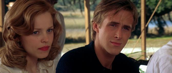 Ryan Gosling y Rachel McAdams en El diario de Noa